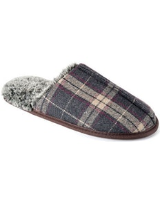Check Memory Foam Slippers Grey