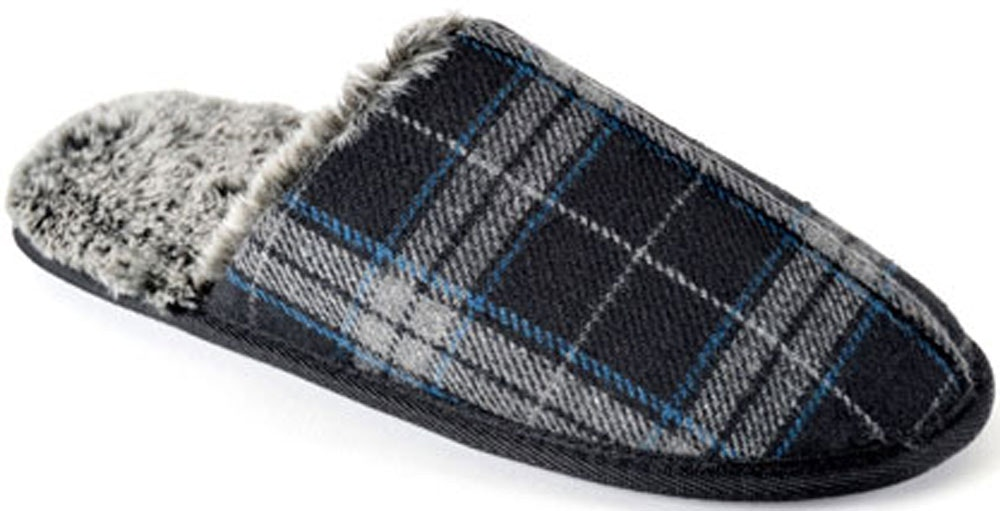 Check Memory Foam Slippers Navy