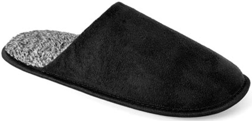 Two Tone Suede Mule Slippers Black