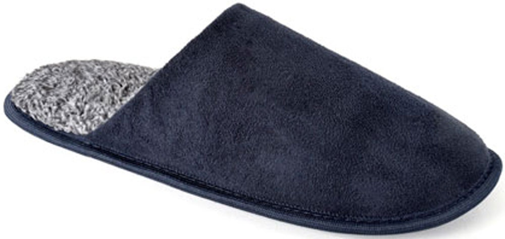 Two Tone Suede Mule Slippers Navy