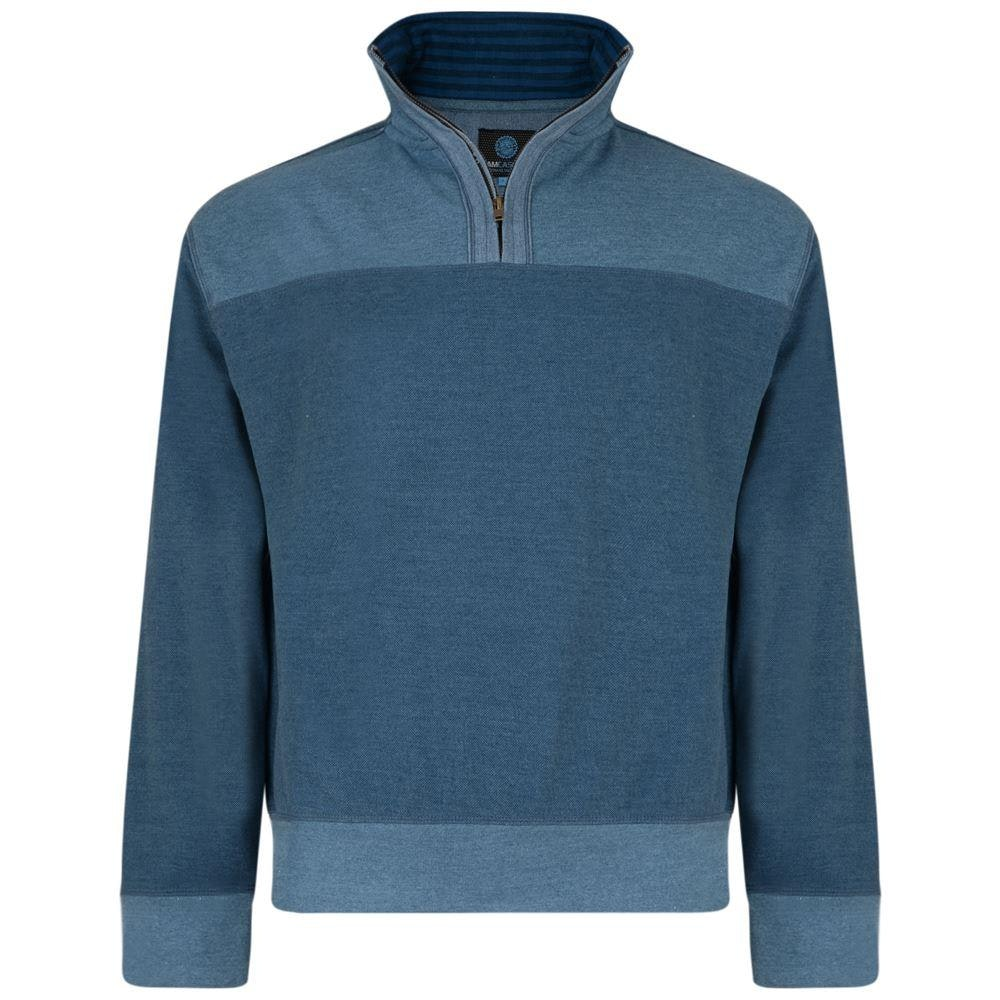 KAM Quarter Zip Canvas Sweater Denim