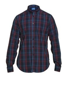 D555 Enderby Long Sleeve Check Shirt Navy/Plum