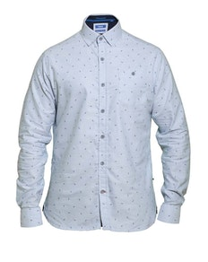 D555 Addington Feather Printed Oxford Shirt Blue