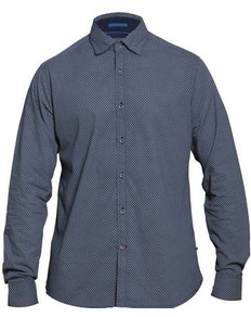 D555 Ayton Long Sleeve Diamond Print Shirt Navy