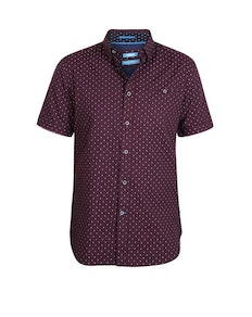 D555 Decker Printed Short Sleeve Shirt Burgundy