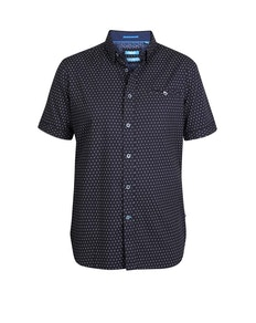 D555 Anton Printed Short Sleeve Shirt Navy