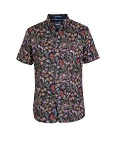 D555 Emmet Floral Printed Short Sleeve Shirt Black