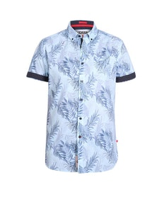 D555 Santana Printed Short Sleeve Shirt Sky Blue