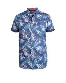 D555 Reuben Printed Short Sleeve Shirt Navy