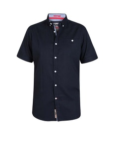 D555 Brixton Linen Blend Short Sleeve Shirt Navy