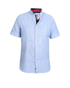 D555 Brixton Linen Blend Short Sleeve Shirt Light Blue