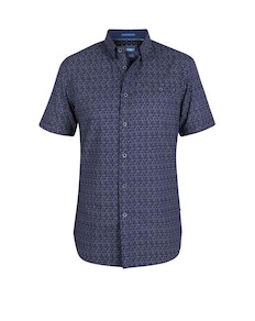 D555 Barlow Printed Short Sleeve Shirt Navy