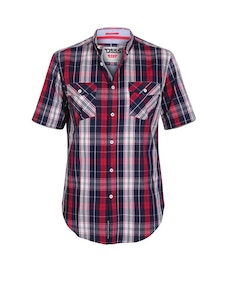 D555 Terell Check Short Sleeve Shirt Navy/Red