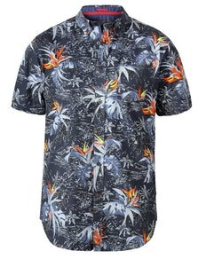 D555 Severn Hawaiian Leaf Print Shirt Charcoal