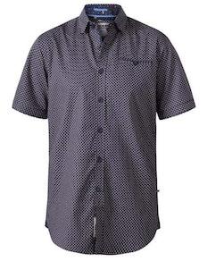 D555 Mersey Micro Print Short Sleeve Shirt Navy