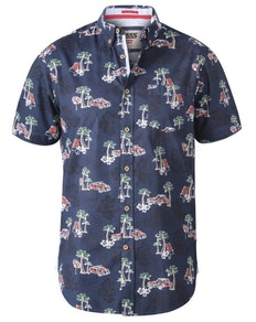 D555 Avenger Classic Car And Palm Tree Print Shirt Navy