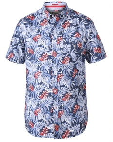 D555 Malibu Hawaiian Print Shirt Blue