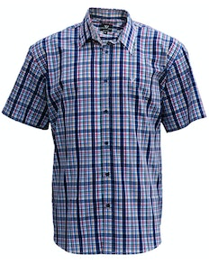 Cotton Valley Short Sleeve Check Shirt Navy