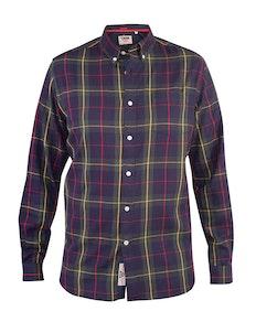 D555 Gladstone Check Button Down Collar Shirt Navy