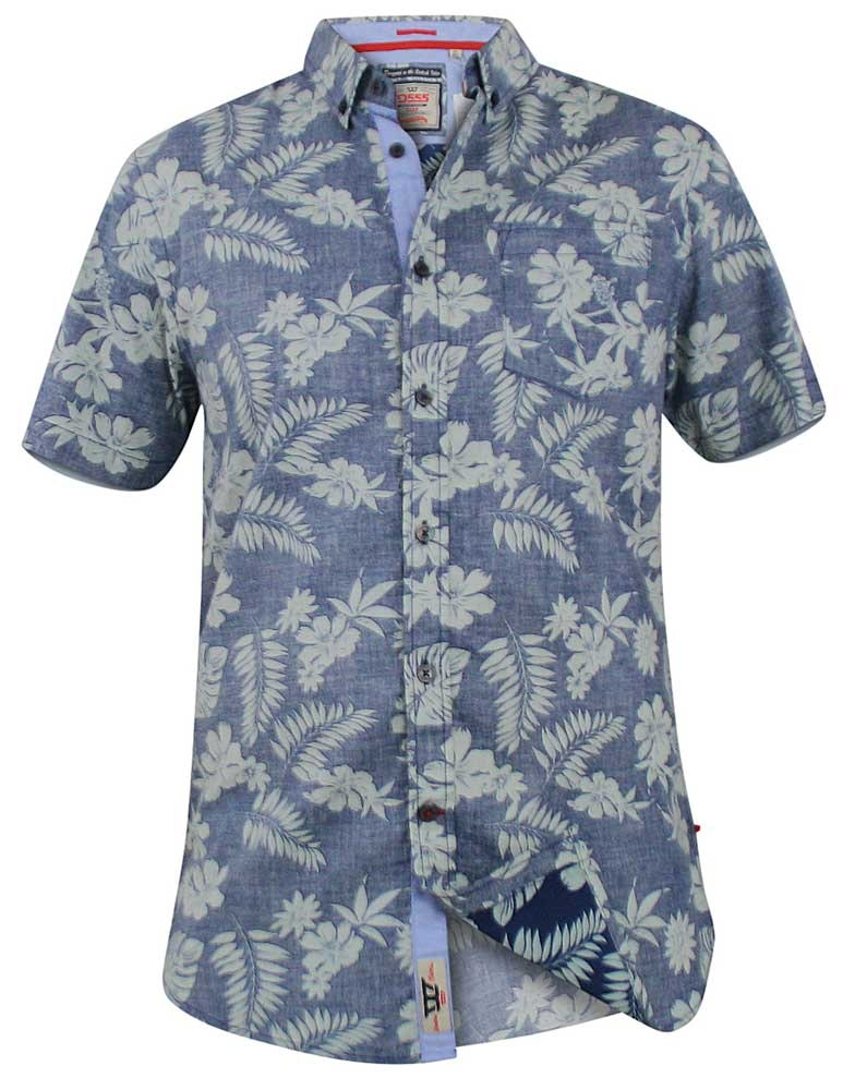 D555 Oswald Hawaiian Print Shirt Blue Tall