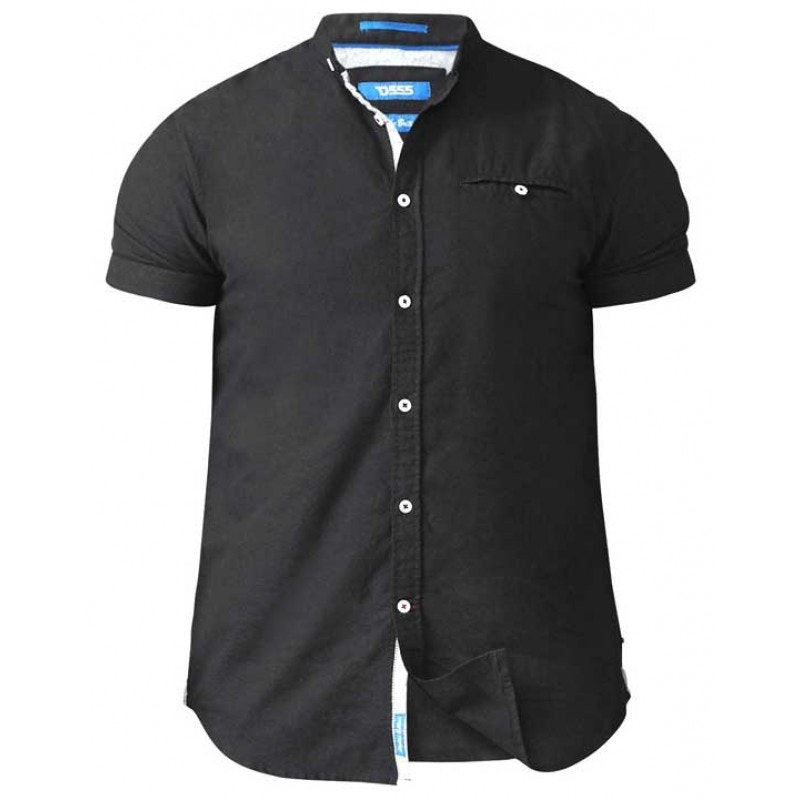 D555 Dwight Oxford Collarless Shirt Black Tall