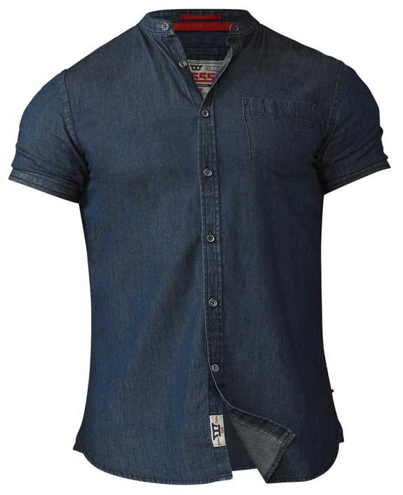D555 Astra Collarless Denim Shirt Tall