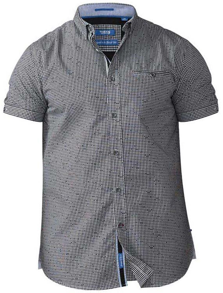 D555 Skyler Micro Gingham Print Shirt Navy