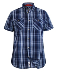 D555 Safford Short Sleeve Check Shirt Navy Tall
