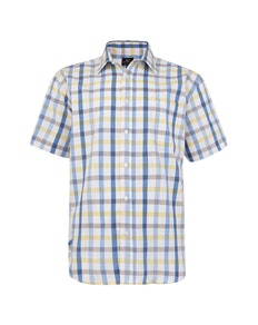 Cotton Valley Short Sleeve Check Shirt Yellow