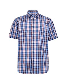 Cotton Valley Short Sleeve Check Shirt Blue