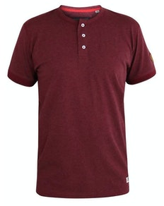 D555 Daniel Grandad Collar T-Shirt Red Twist