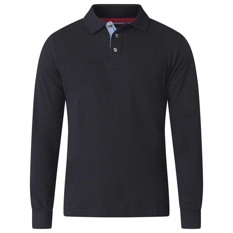 D555 Darvin Long Sleeve Polo Black Tall