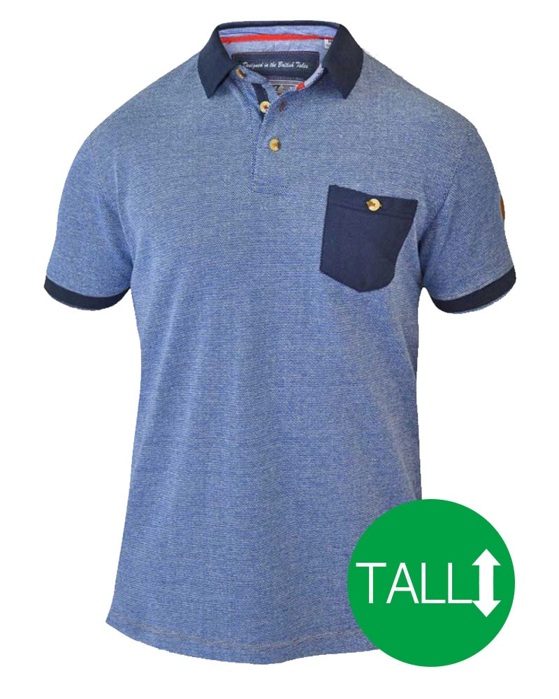 D555 Cruz Polo Shirt with Pocket - Navy/ Blue Tall
