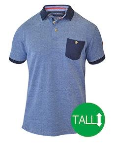 D555 Cruz Polo Shirt with Pocket - Navy/ Blue Tall