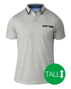 D555 Colin Fine Short Sleeved Polo Shirt - Ecru/ Grey Tall