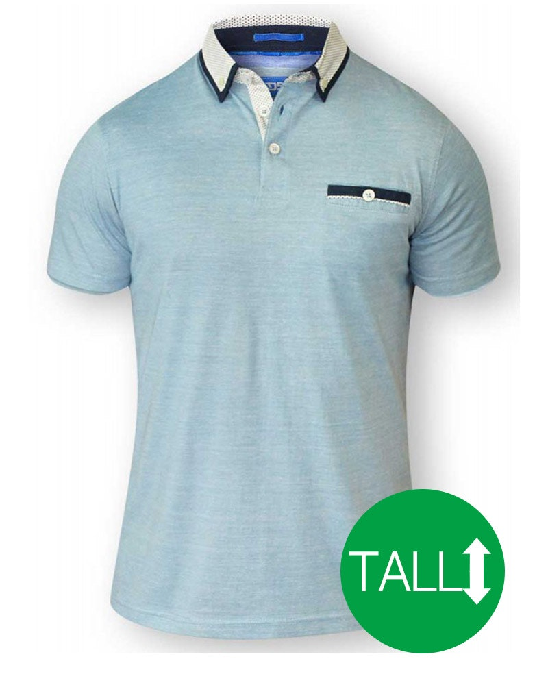 D555 Colin Fine Short Sleeved Polo Shirt - Blue/ White Tall
