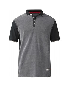 D555 Cecil Jaquard Polo Black Tall