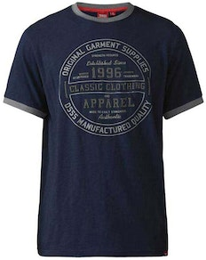 D555 Wilfred Classic Print T-Shirt Navy Tall