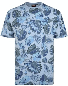Espionage Leaf Printed T-Shirt Blue