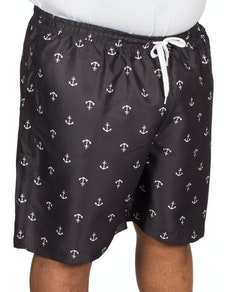 Bigdude Anchor Print Swim Shorts Black