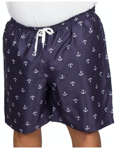Bigdude Anchor Print Swim Shorts Navy