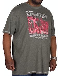 D555 Perry Manhattan Print T-Shirt Khaki