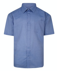 Cotton Valley Short Sleeve Patterned Shirt Light Blue