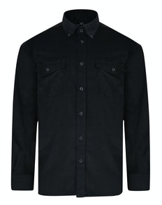 Cotton Valley Long Sleeve Corduroy Shirt Black