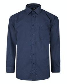 Cotton Valley Long Sleeve Patterned Shirt Navy