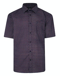 Cotton Valley Short Sleeve Patterned Shirt Wine