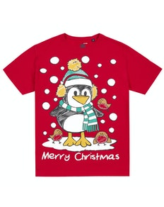 Penguin Print Christmas T-Shirt Red