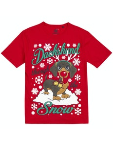 Dachshund Print Christmas T-Shirt Red