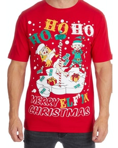 Ho Ho Ho Christmas Print T-Shirt Red