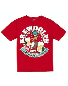 Christmas Beer Print T-Shirt Red